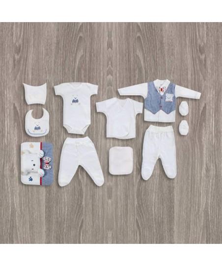 Flexi Baby Ayıcıklı 10'lu Erkek Hastane Çıkış Seti