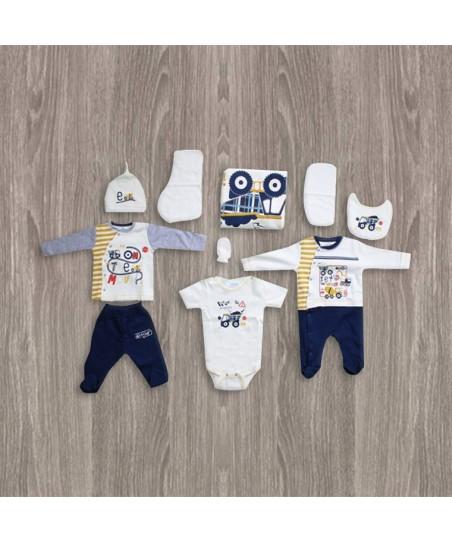 Aziz Bebe Sarı-Lacivert 10'lu Yeni Doğan Bebek Seti