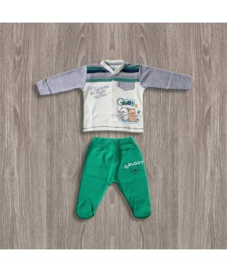 Aziz Bebe Ayıcık Desenli 2li Erkek Takımı