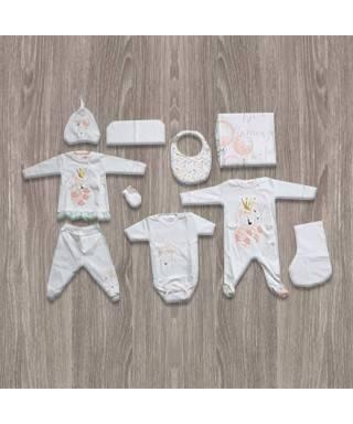 Aziz Bebe Kuğu Desenli 10'lu Yeni Doğan Bebek Seti