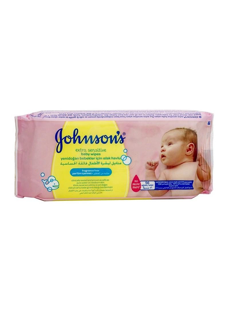 Johnson's Baby Bebek Extra Sensitive Parfümsüz ıslak Mendil 56' lı