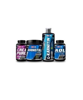 Hardline Nutrition Paketi -4 (Amino Full 300 tabl. + L-Karnitin 1000 ml + Creapure 120 kaps. + AOL 120 kaps. )
