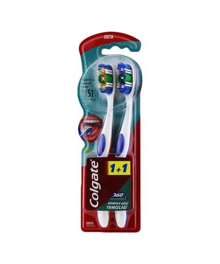 Colgate 360 Komple Ağız Temizliği Diş Fırçası - Medium (2'li Paket)