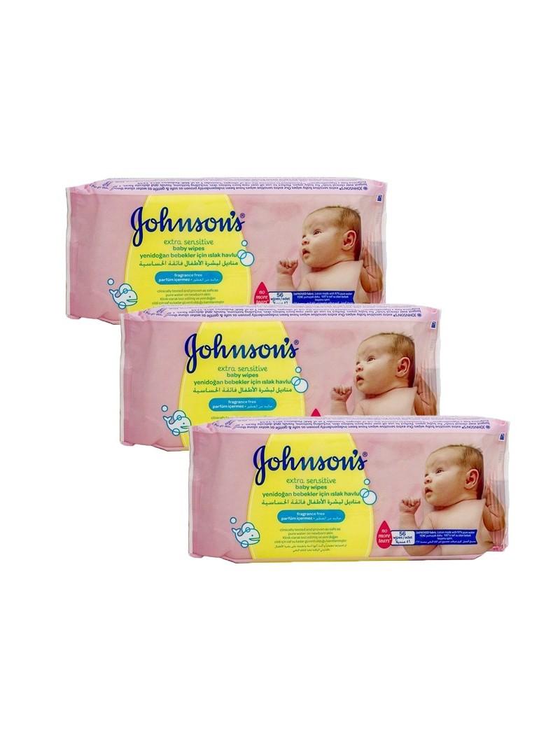 Johnson's Baby Extra Sensitive Parfümsüz ıslak Mendil 3x56' Üçlü Fırsat Paketi