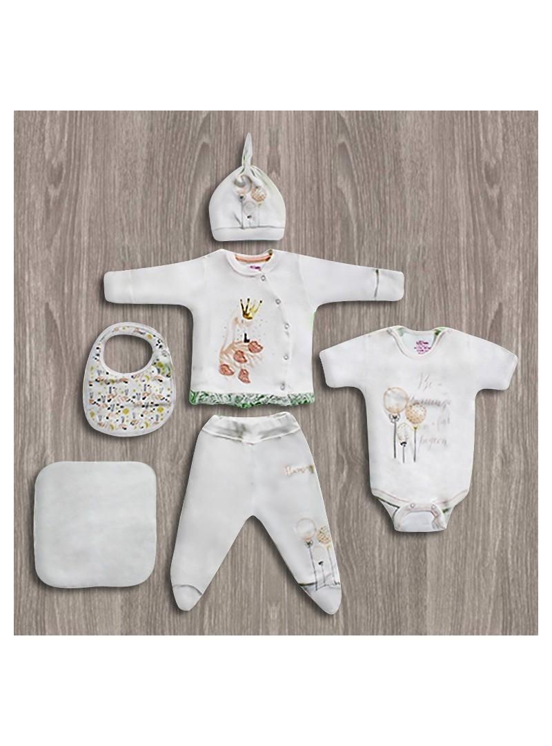OUTLET  -Aziz Bebe Kuğu Desenli 6'lı Yeni Doğan Bebek Seti