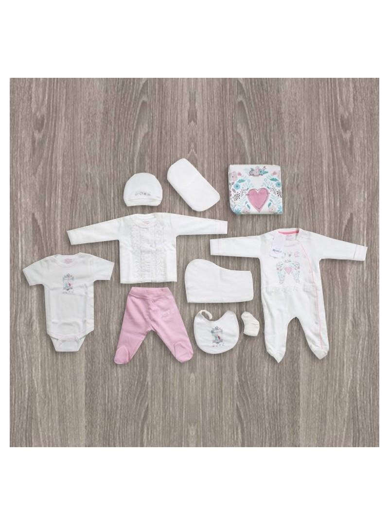 OUTLET - Aziz Bebe Kalp Desenli 10'lu Yeni Doğan Bebek Seti