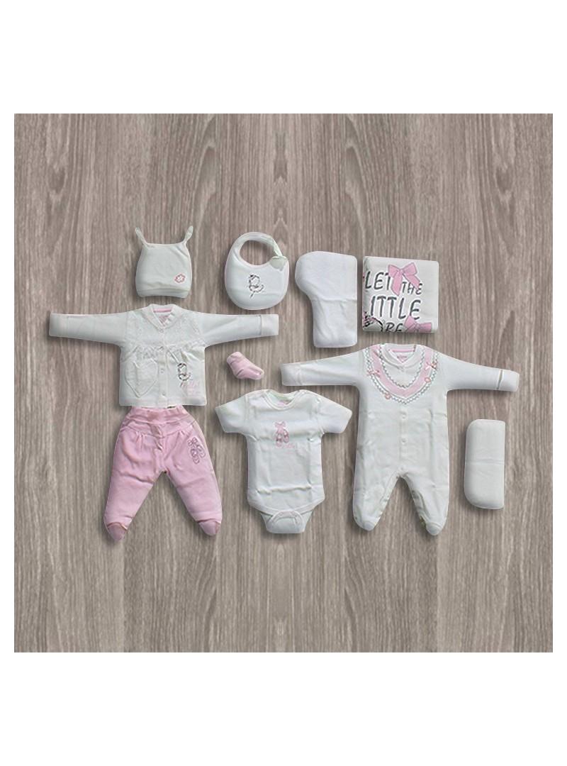 OUTLET - Aziz Bebe Fiyonk Desenli 10'lu Yeni Doğan Bebek Seti