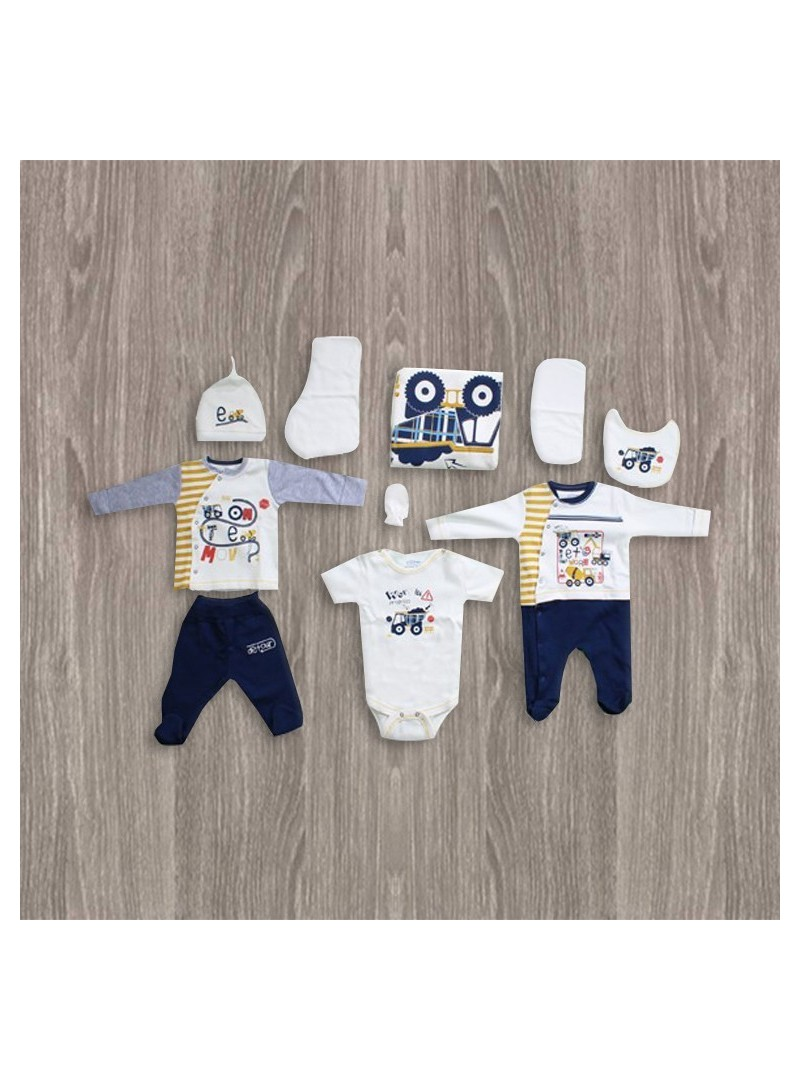 OUTLET - Aziz Bebe Sarı-Lacivert 10'lu Yeni Doğan Bebek Seti