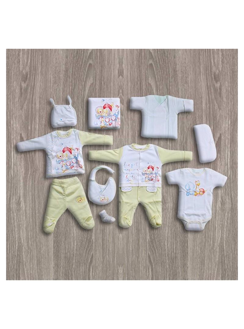 OUTLET - Aziz Bebe Ekru-Sarı 10'lu Yeni Doğan Bebek Seti