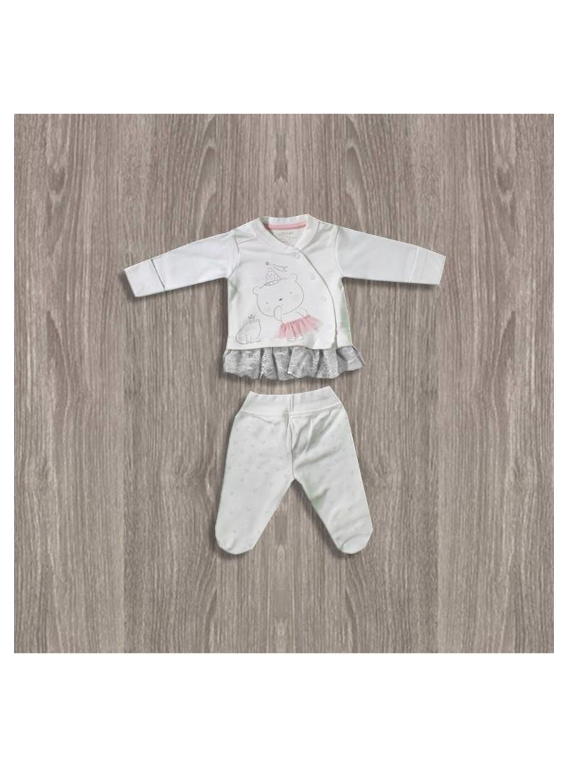 OUTLET - Aziz Bebe Ekru-Pembe 2'li Kız Takımı