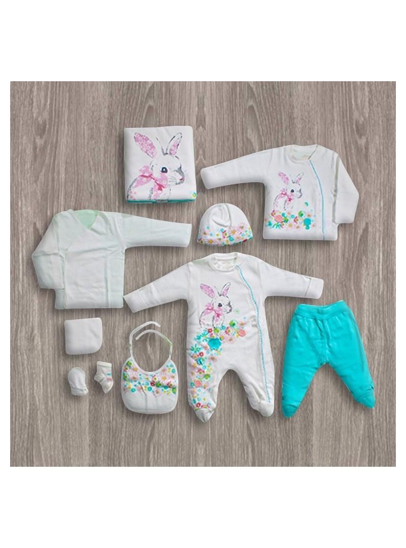 OUTLET - Aziz Bebe Tavşanlı Ekru-Turkuaz 10'lu Yeni Doğan Bebek Seti