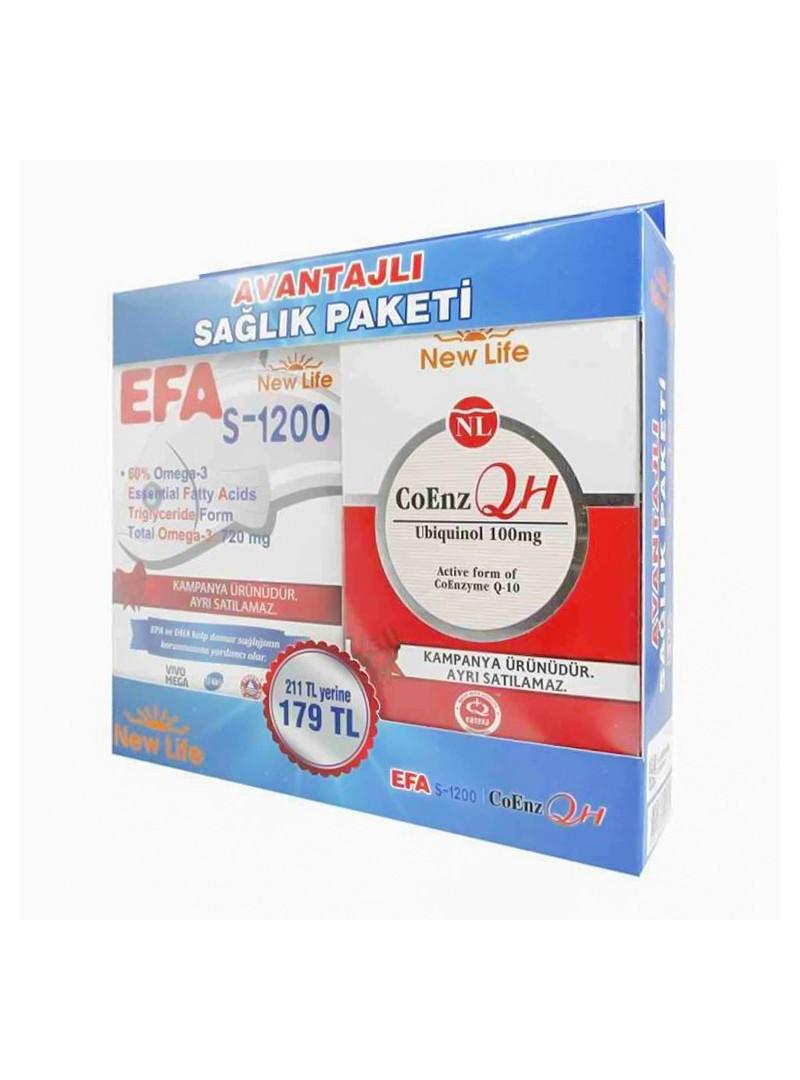 New Life EFA S-1200 - 720mg Omega 3 - 45 Kapsül + CoEnz QH 100mg 30 Kapsül