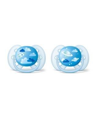 Philips Avent SCF222/22 Ultra Soft Desenli Emzik 6-18 Ay 2li Mavi