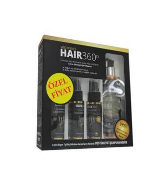 ​Hair 360 Women Sprey 3 x 50ml + Hair 360 İntensive Hair Loss Shampoo 200ml Hediye