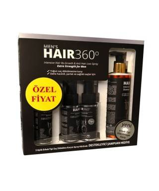 Hair 360 Men Sprey 3 x 50ml + Hair 360 İntensive Hair Loss Shampoo 200ml Hediye