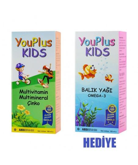 Youplus Kids Multivitamin 100ml + Omega 3 Balık Yağı 100 ml HEDİYE