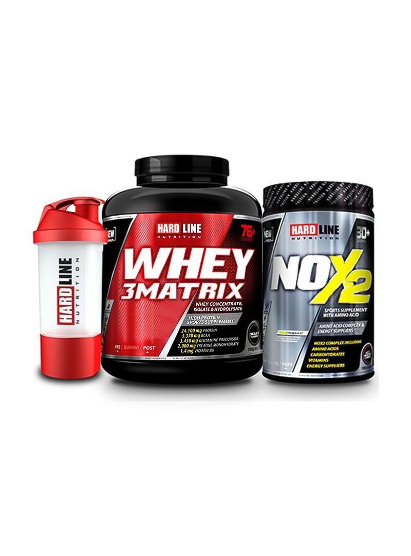 Hardline Nutrition Whey 3 Matrix Protein Tozu Çikolata 2300 Gr + Nox 2 Limon 1000 Gr + Shaker