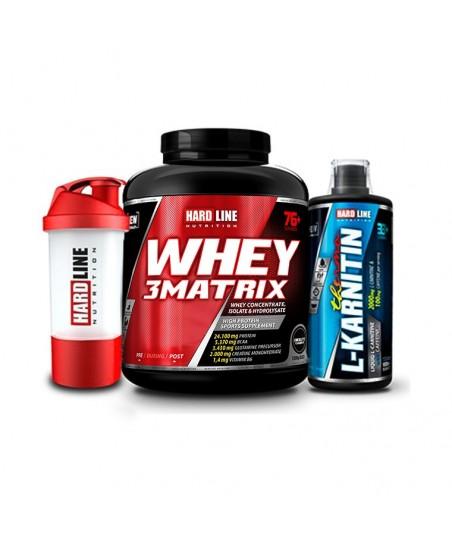 Hardline Nutrition Whey 3 Matrix Protein Tozu Çikolata 2300 Gr + L-Karnitin Thermo 1000 Ml + Shaker