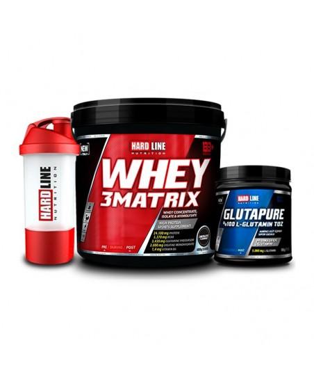 Hardline Nutrition Whey 3 Matrix Çikolata 4000 Gr + Glutapure 500 Gr + Shaker