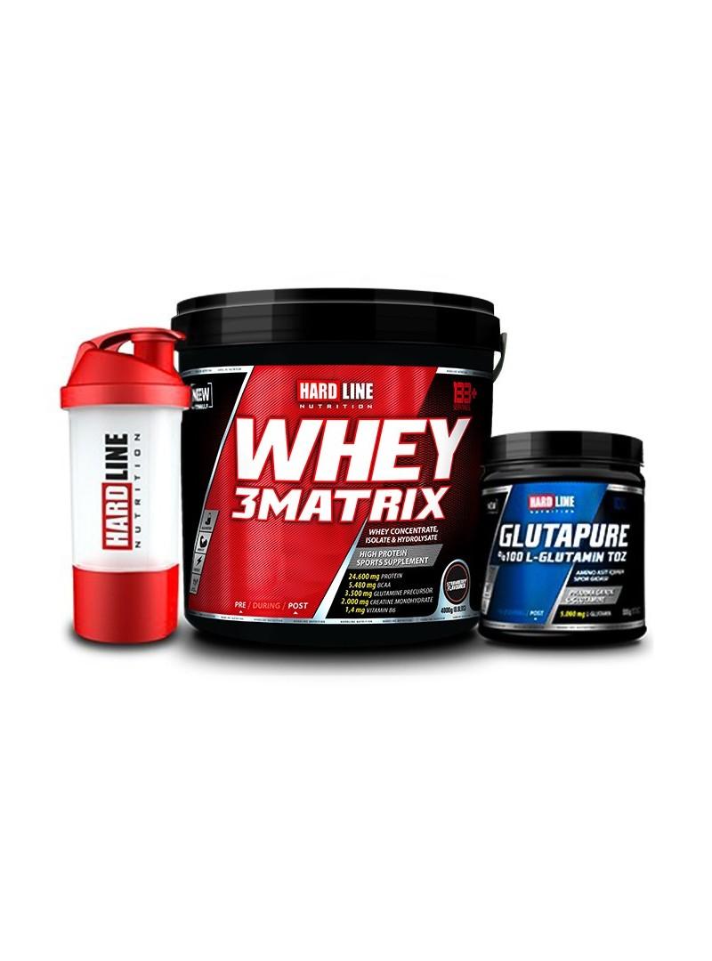 Hardline Nutrition Whey 3 Matrix Çilek 4000 Gr + Glutapure 500 Gr + Shaker
