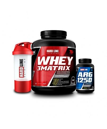 Hardline Nutrition Whey 3 Matrix Protein Tozu Çilek 2300 Gr + Arg 1250 120 Kapsül + Shaker
