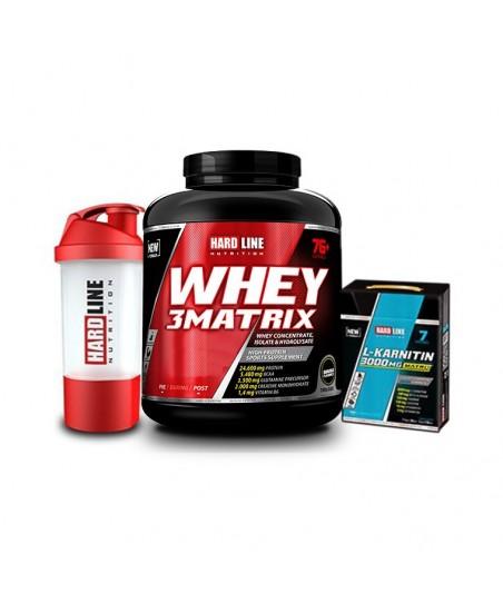 Hardline Nutrition Whey 3 Matrix Muz 2300 Gr + L- Karnitin Matrix 3000 Mg 7 Adet + Shaker