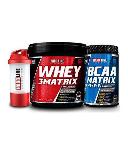 Hardline Nutrition Whey 3 Matrix Protein Tozu Çilek 4000 Gr + Bcaa Matix 630 Gr + Shaker