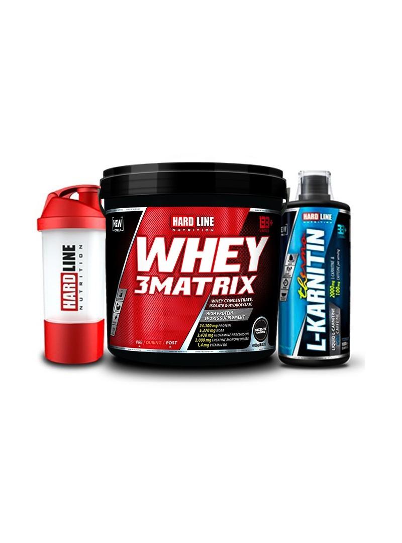 Hardline Nutrition Whey 3 Matrix Protein Tozu Çikolata 4000 Gr + L-Karnitin Thermo 1000 Ml + Shaker