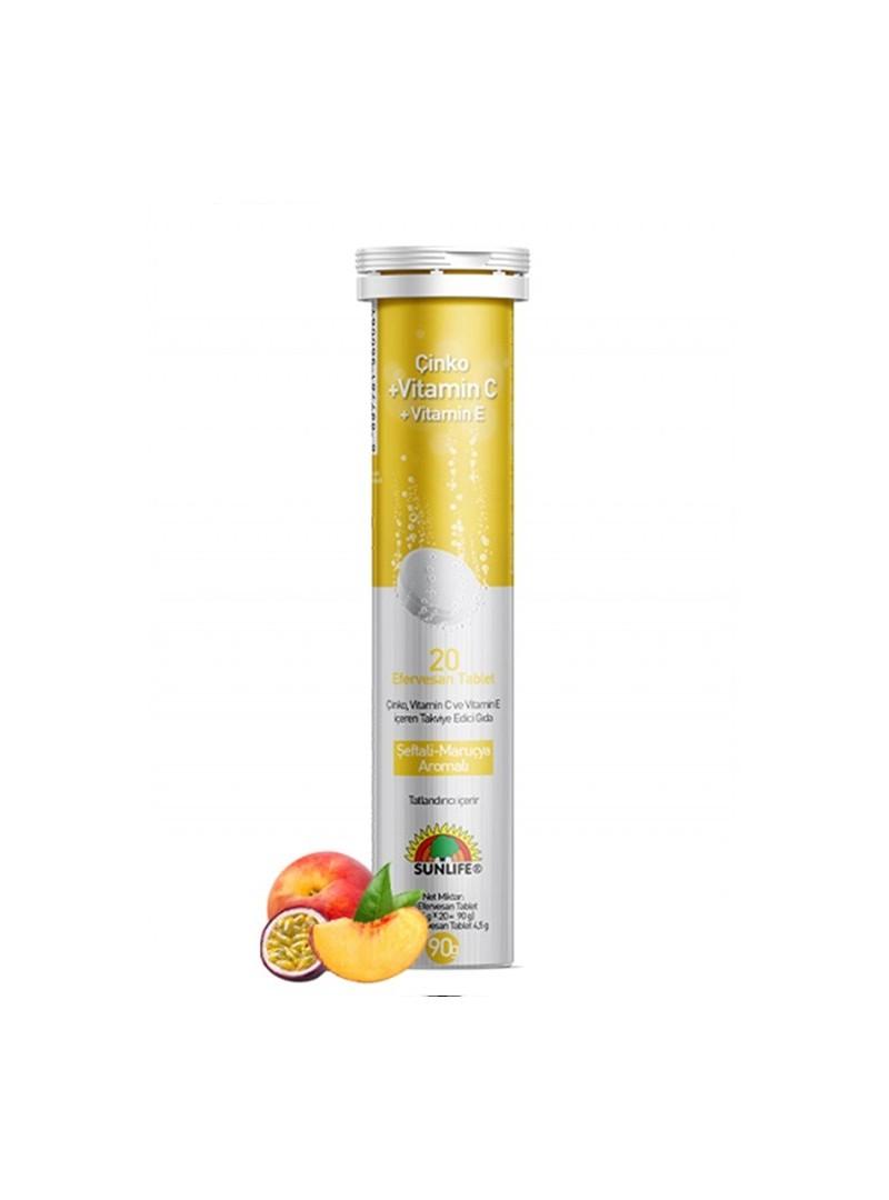 Sunlife Çinko + Vitamin C + Vitamin E Efervesan 20 Tablet