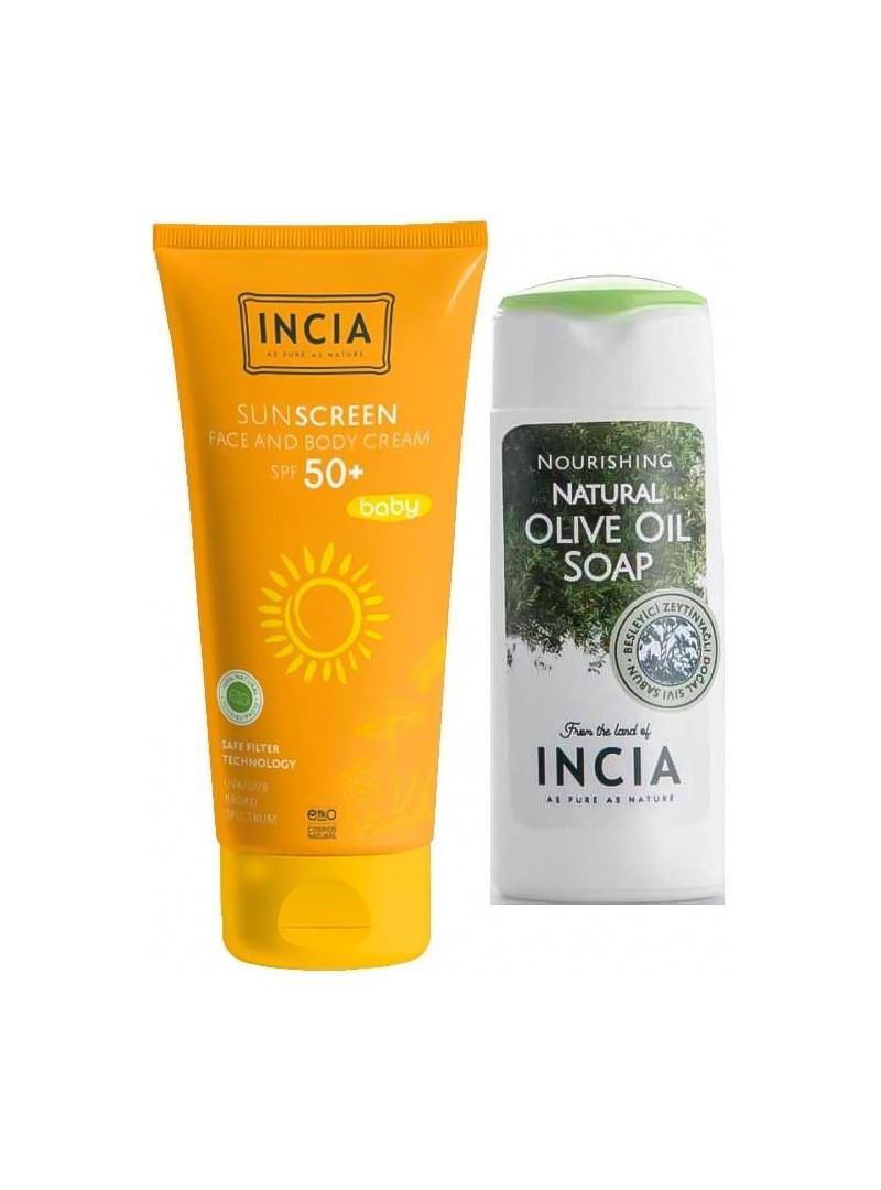 Incia Bebek Doğal Güneş Kremi SPF 50 - 70 ml El ve Vücut Sabunu 50ml HEDİYE