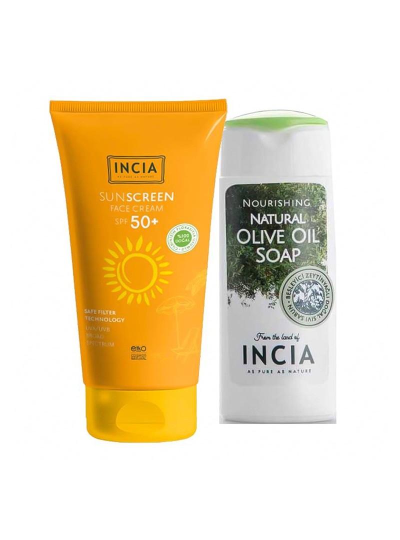 Incia Yüz İçin Doğal Güneş Kremi SPF 50 - 50 ml + El ve Vücut Sabunu 50ml HEDİYE