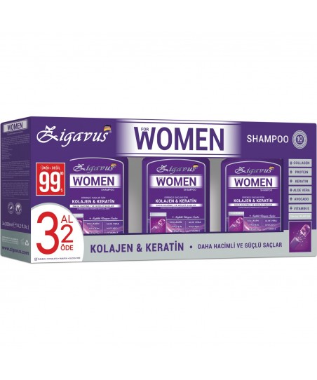Zigavus Women Kolajen ve Keratin Şampuan 300 ml   3 AL 2 ÖDE