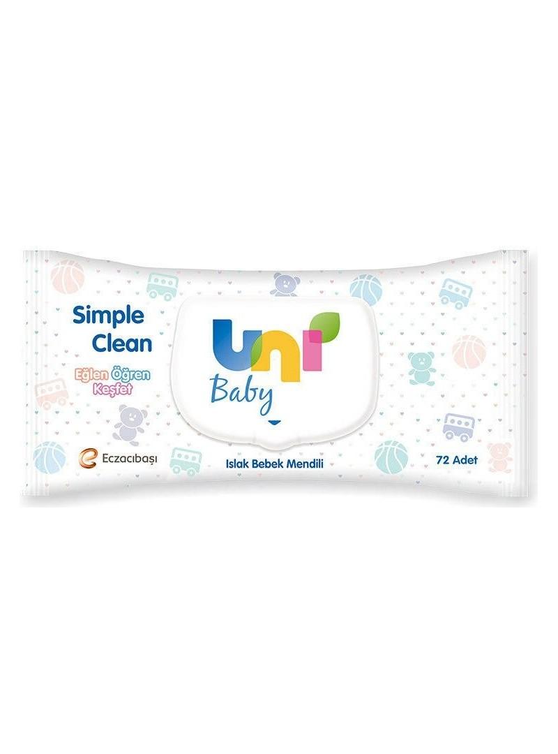 Uni Baby Simple Clean Islak Bebek Mendili 72 Adet