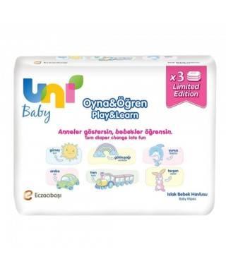 Uni Baby Islak Mendil Oyna & Öğren 52 Adet 3lü Paket