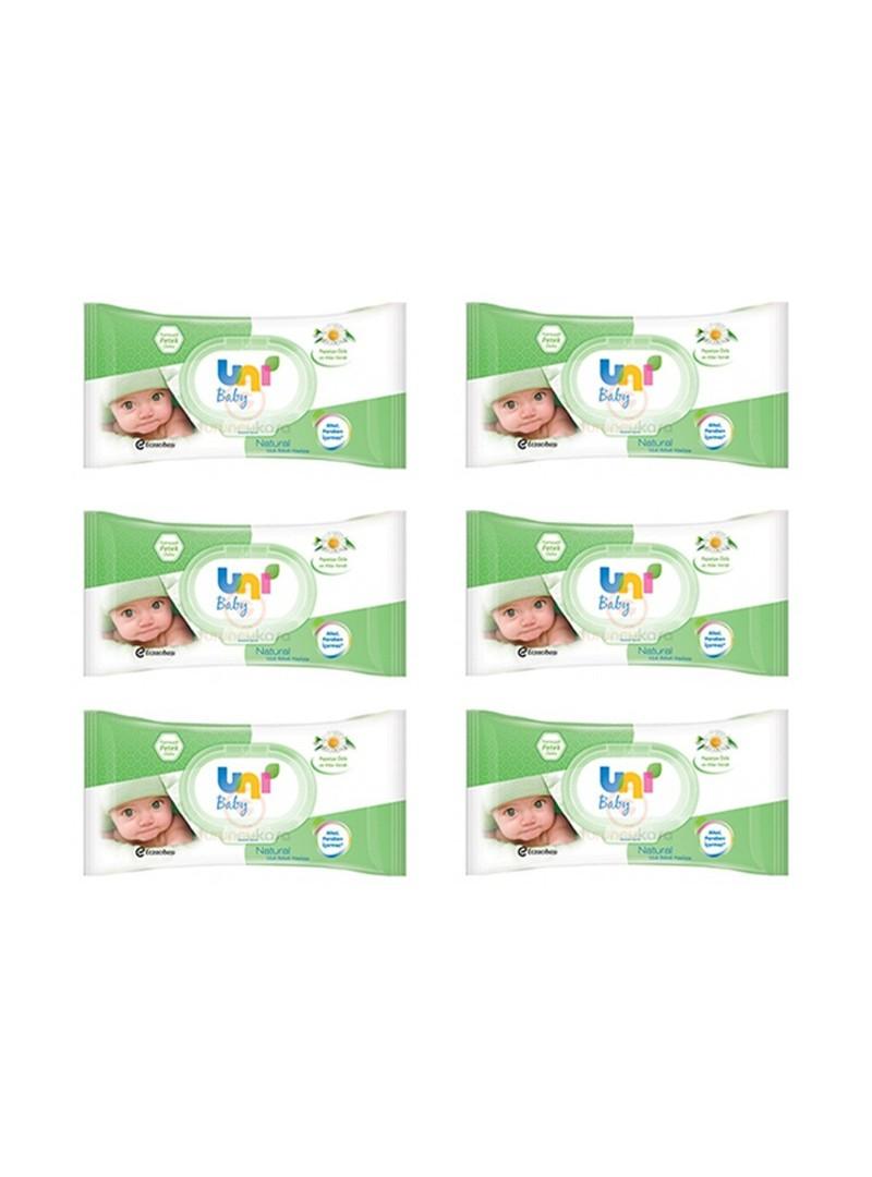 Uni baby Natural Islak Pamuk Mendil 56'lı 63 Adet