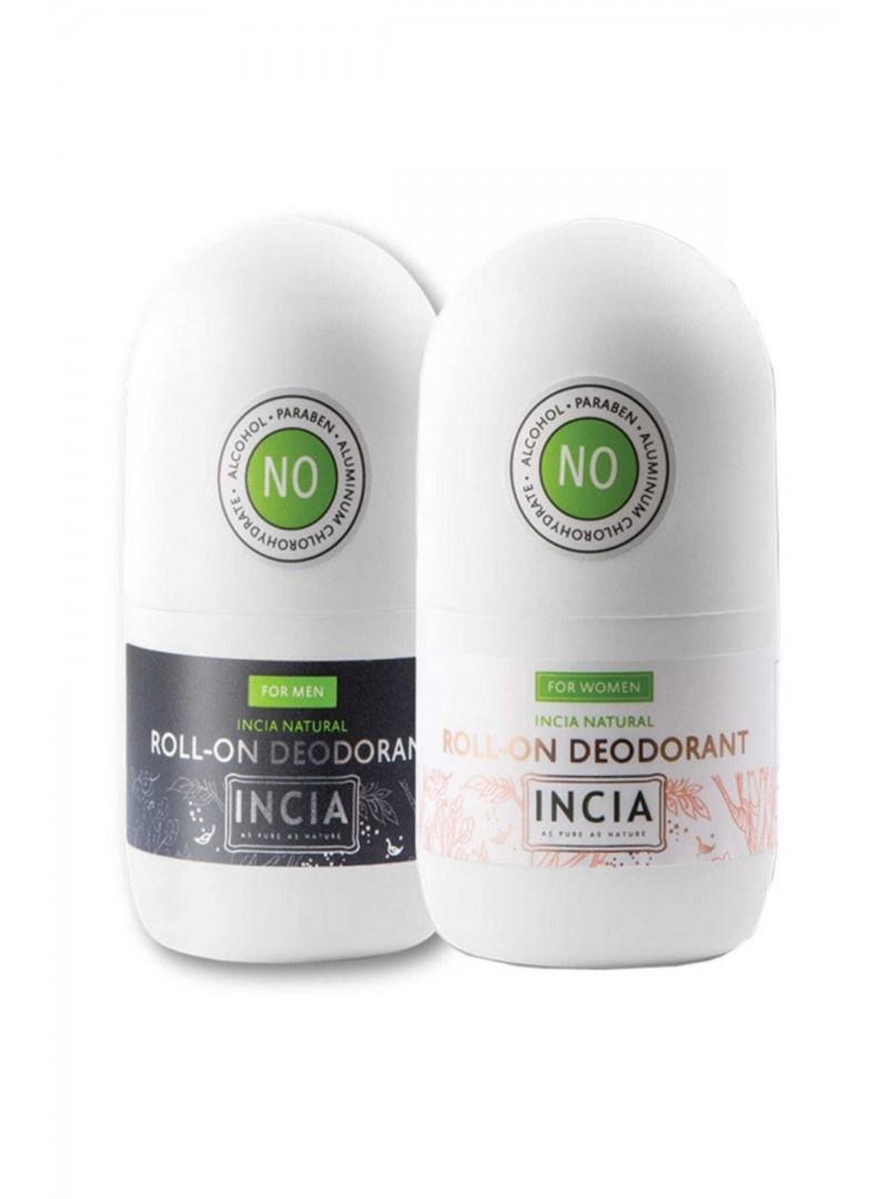 Incia Roll On Deodorant For Women 50 ml  +  For Men 50 ml Doğal Deodorant