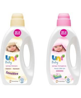 Uni Baby Sensitive Bebek Çamaşır Deterjanı 1800 ml + Bebek Çamaşır Yumuşatıcısı 1800 ml