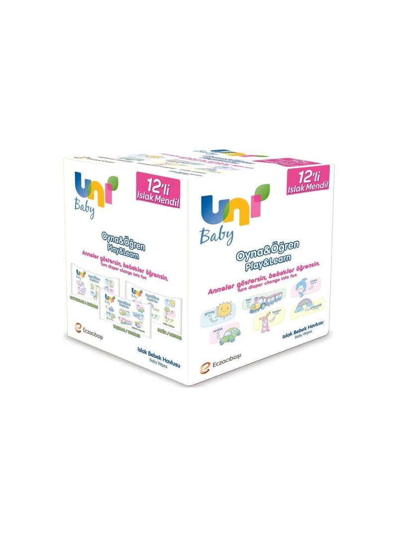 Uni Baby Islak Mendil Oyna & Öğren 52 Adet 12li Paket