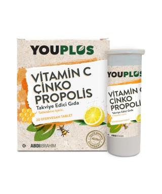 Youplus Vitamin C Çinko Propolis 20 Efervesan Tablet X 4 ADET