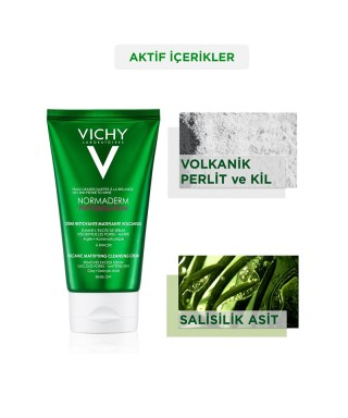 Vichy Normaderm Phytosolution Volcanic Mattifying Cleansing Cream ( Parlama Karşıtı Volkanik Temizleyici Krem ) 125 ml