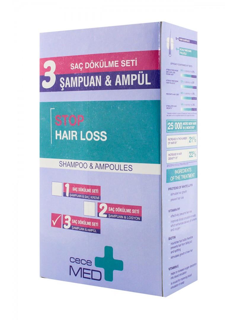 CeceMed Saç Dökülme Seti CeceMed Stop Hair Loss Şampuan 300 ml + CeceMed Stop Hair Loss Scalp Ampul 5x7 ml