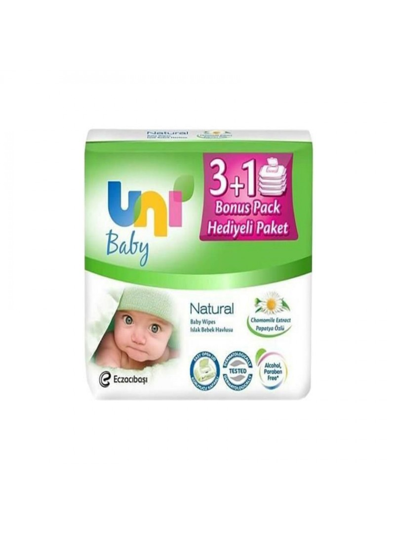 Uni Baby Natural Islak Pamuk Mendil 56'lı 4'lü Paket