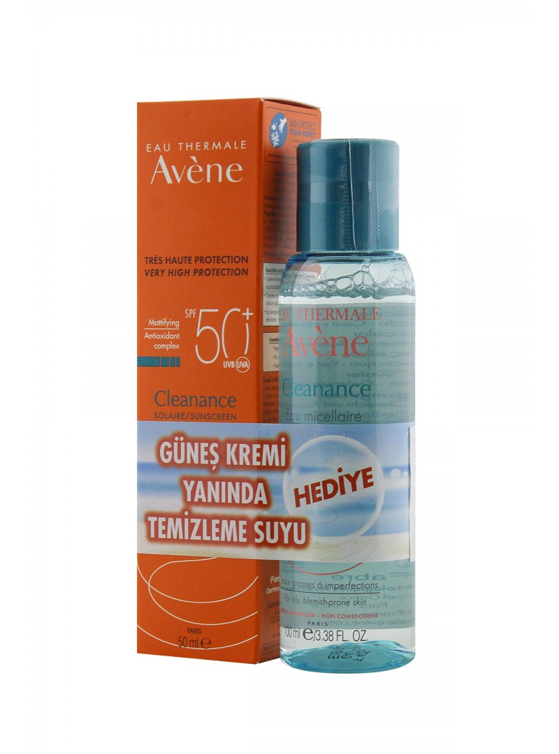 Avene Cleanance Solaire SPF 50+ 50 ml + Avene Cleanance Temizleme Suyu 100 ml