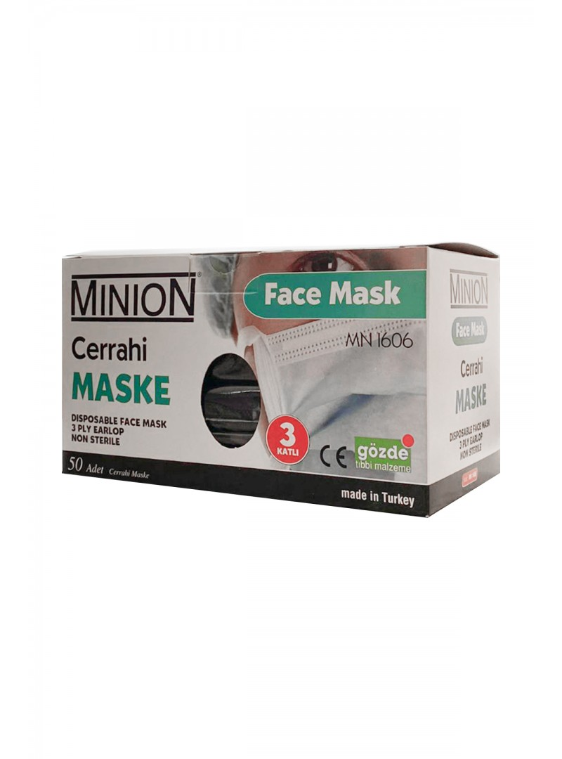 Maske 3 Katlı Meltblownlu Siyah 50li