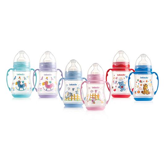 Bebedor Desenli Geniş Ağız Kulplu Biberon 250 ml :